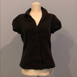 Ann Taylor Black & White Print Button Up Blouse